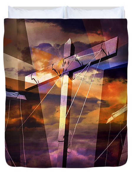 Crucifixion Crosses Composition From Clotheslines Duvet Cover by Randall Nyhof