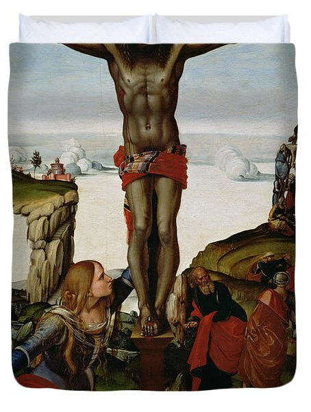 Crucifixion With Mary Magdalene Duvet Cover