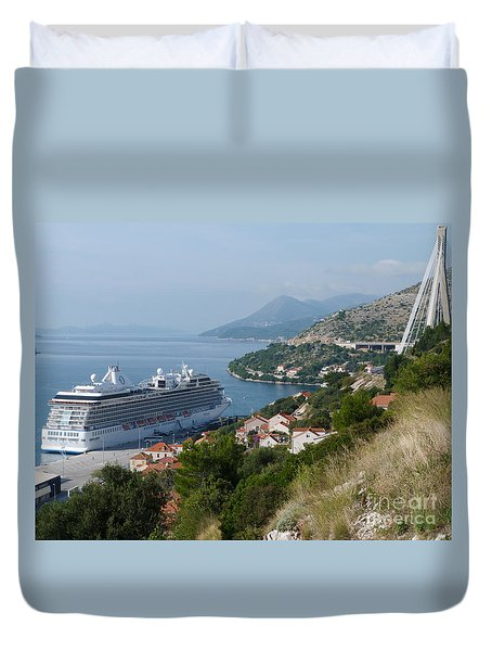 Duvet Cover featuring the photograph Cruise Ship Riviera - Dubrovnik by Phil Banks