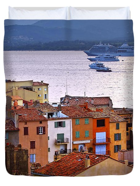 Cruise Ships At St.tropez Duvet Cover by Elena Elisseeva