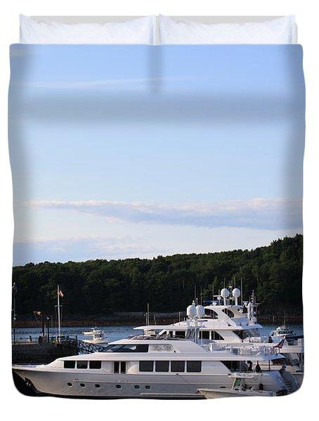 Cruiseships At Bar Harbor Duvet Cover by Dora Sofia Caputo Photographic Art and Design