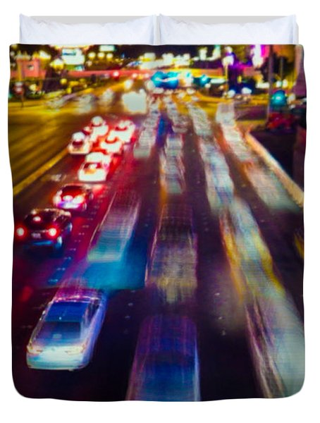 Duvet Cover featuring the photograph Cruising The Strip by Alex Lapidus