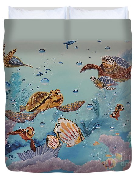 Duvet Cover featuring the painting Crush'n'squirt by Dianna Lewis
