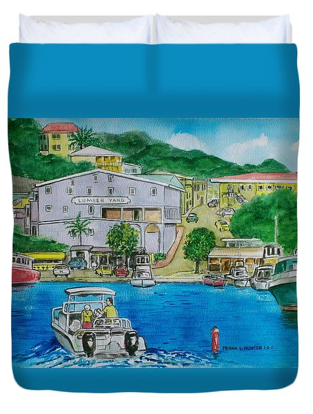 Cruz Bay St. Johns Virgin Islands Duvet Cover by Frank Hunter