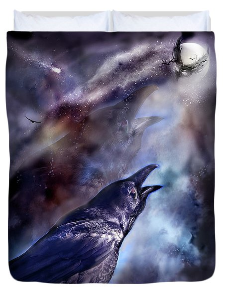 Cry Of The Raven Duvet Cover by Carol Cavalaris