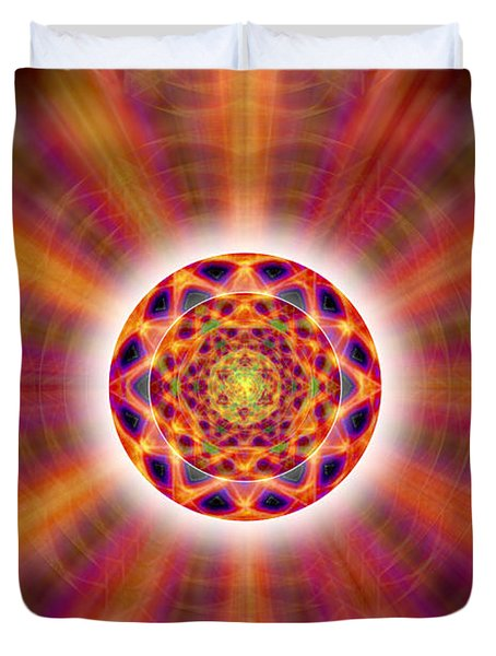Duvet Cover featuring the drawing Crystal Ball Of Light by Derek Gedney