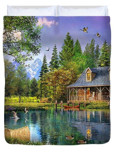 Crystal Lake Cabin Duvet Cover