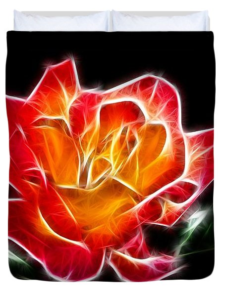 Duvet Cover featuring the photograph Crystal Rose by Mariola Bitner