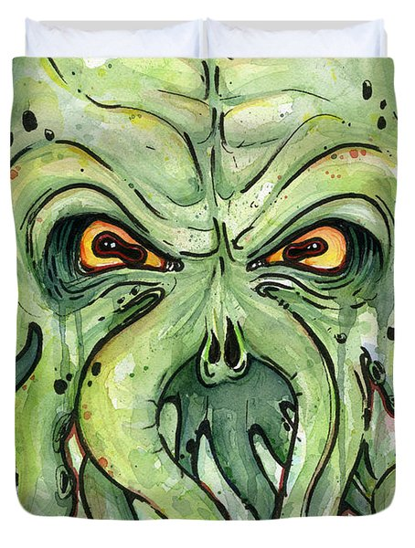 Cthulhu Watercolor Duvet Cover