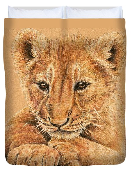 Duvet Cover featuring the drawing cub by Heidi Kriel