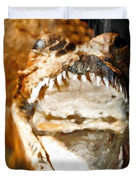 Duvet Cover featuring the digital art Cuban Crocodile by Daniel Janda