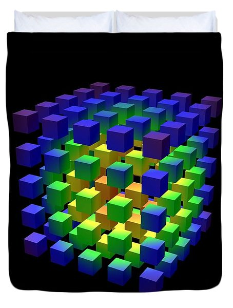 Duvet Cover featuring the digital art Cube Of Cubes... by Tim Fillingim
