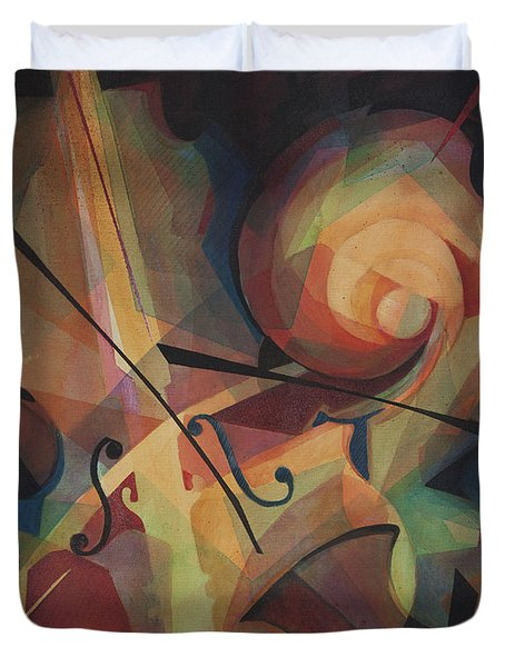 Cubist Play - Abstract Cello Duvet Cover by Susanne Clark