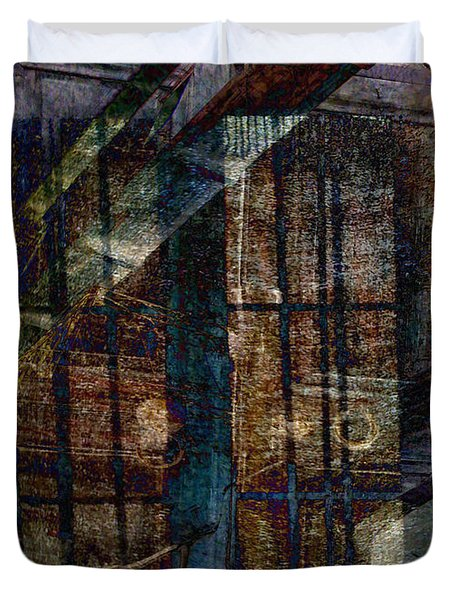 Cubist Shutters Doors And Windows Duvet Cover by Sarah Vernon