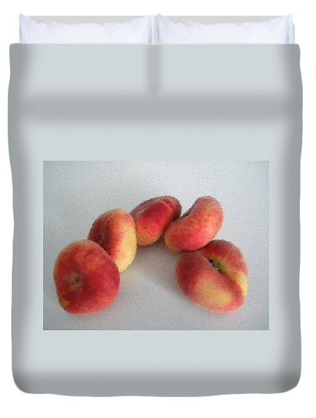 Cubist View Of Peento Peaches Duvet Cover by Manuela Constantin