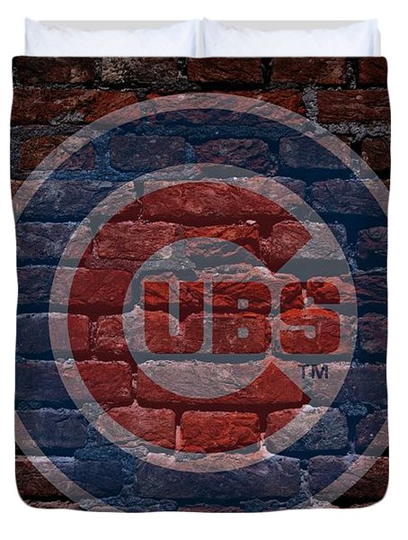 Cubs Baseball Graffiti On Brick  Duvet Cover