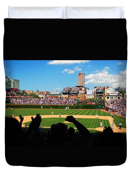 Duvet Cover featuring the photograph Cubs Win by James Kirkikis