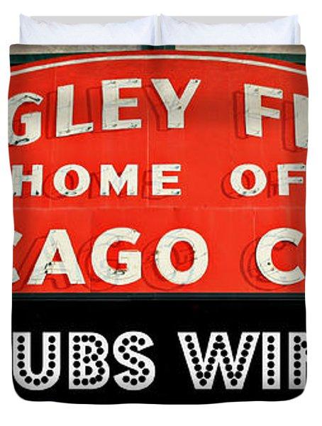 Cubs Win - Wrigley Sign Duvet Cover