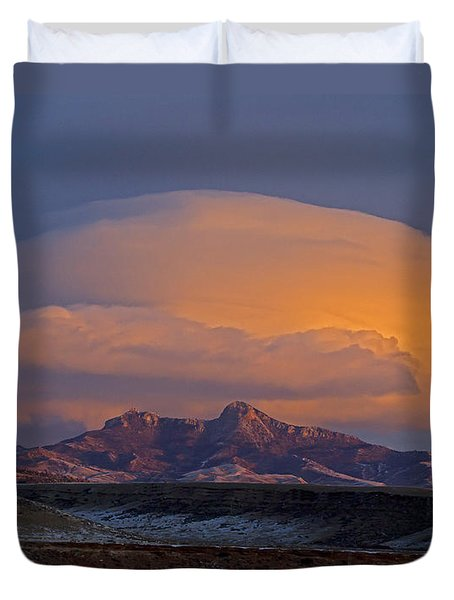 Cumulus Cloud Cap Over Heart Mountain   #2022 Duvet Cover by J L Woody Wooden
