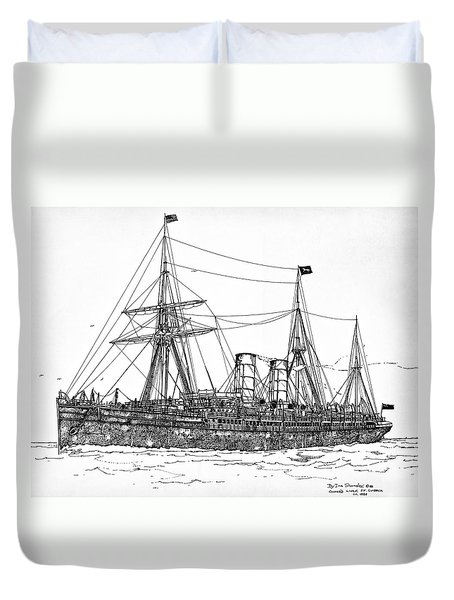 Duvet Cover featuring the drawing Cunard Liner Umbria 1880's by Ira Shander
