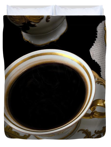 Cup Of Coffee With Cookies Duvet Cover