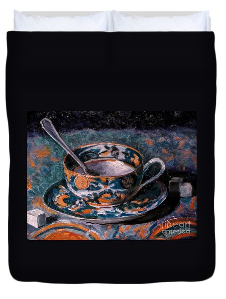 Cup Of Tea And Sugar Cubes Duvet Cover by Amy Fearn