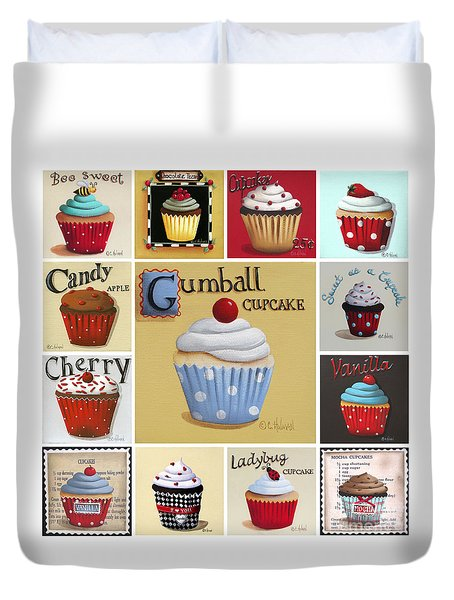 Cupcake Collage Duvet Cover by Catherine Holman