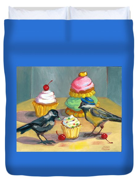 Cupcakes And Chickadees Duvet Cover