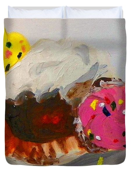 Duvet Cover featuring the painting Cupcakes by Marisela Mungia