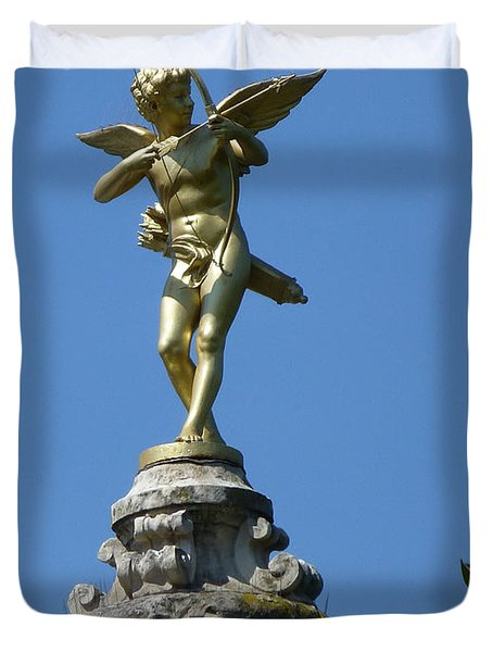 Cupid On Le Pavillon-elysee In Paris Duvet Cover