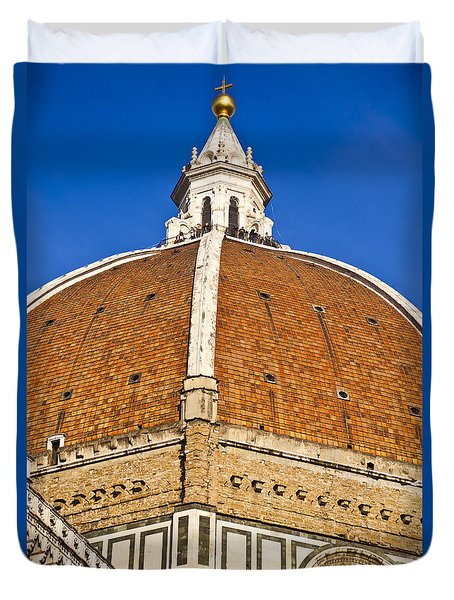 Cupola On Florence Duomo Duvet Cover by Liz Leyden