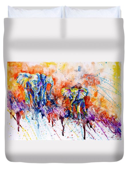 Curious Baby Elephant Duvet Cover