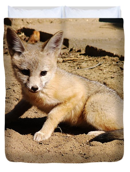Curious Kit Fox Duvet Cover