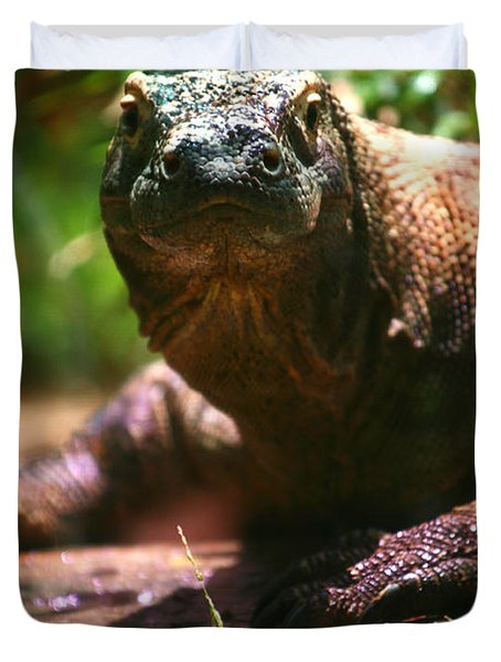 Curious Komodo Duvet Cover by Lon Casler Bixby