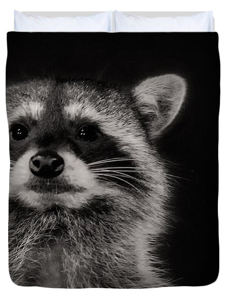 Curious Raccoon Duvet Cover by Linda Villers