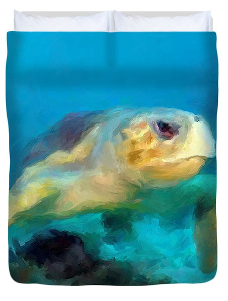 Curious Sea Turtle Duvet Cover