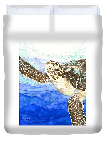 Curious Sea Turtle Duvet Cover