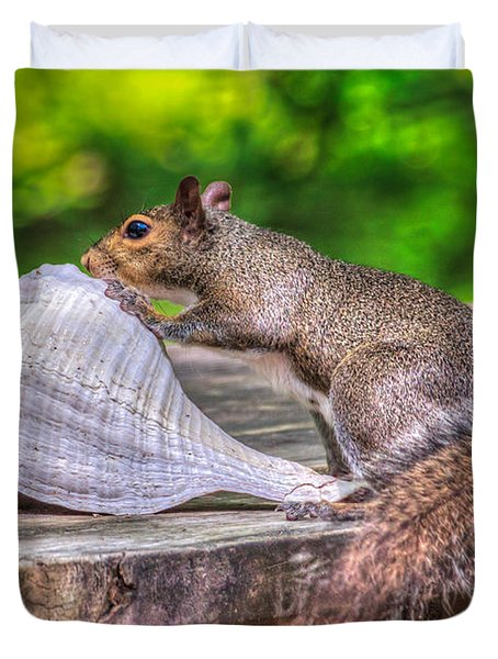 Duvet Cover featuring the photograph Curious Squirrel by Rob Sellers