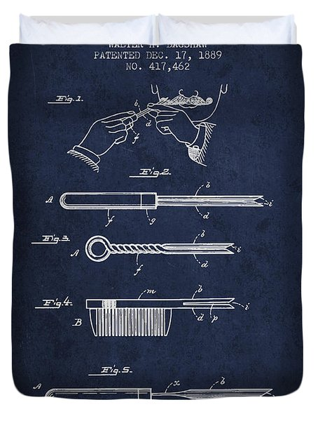 Curling Tongs Patent From 1889 - Navy Blue Duvet Cover