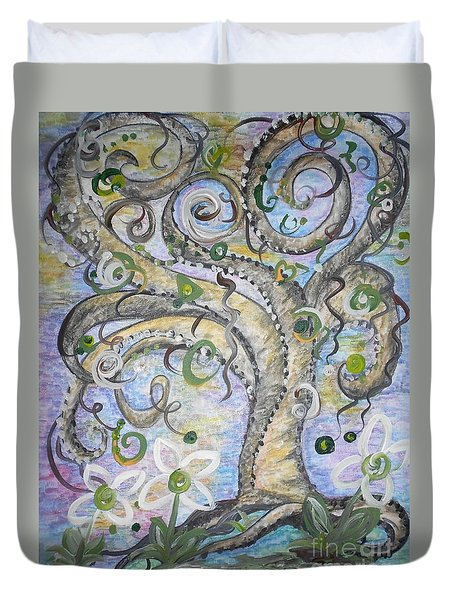 Curly Tree In Fantasy Land Duvet Cover by Eloise Schneider