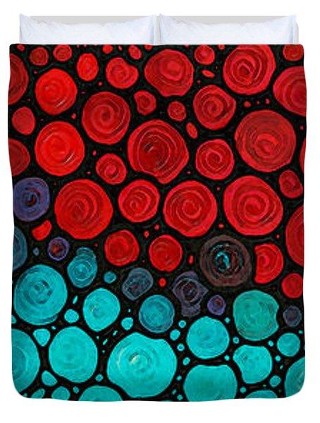 Currents - Red Aqua Art By Sharon Cummings Duvet Cover