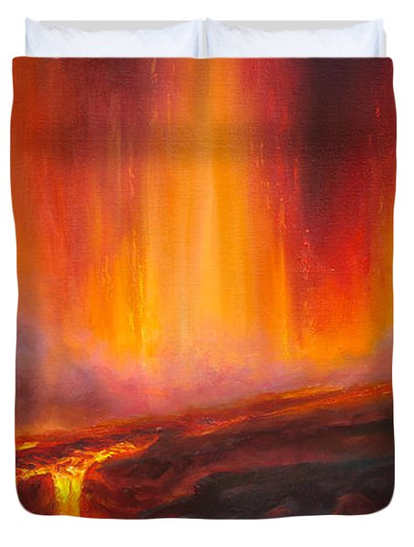 Erupting Kilauea Volcano On The Big Island Of Hawaii - Lava Curtain Duvet Cover