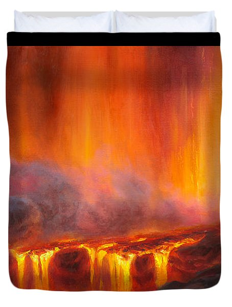 Erupting Kilauea Volcano On The Big Island Of Hawaii - Lava Curtain Duvet Cover