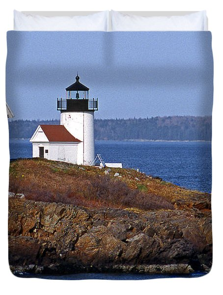 Curtis Island Lighthouse Duvet Cover by Skip Willits
