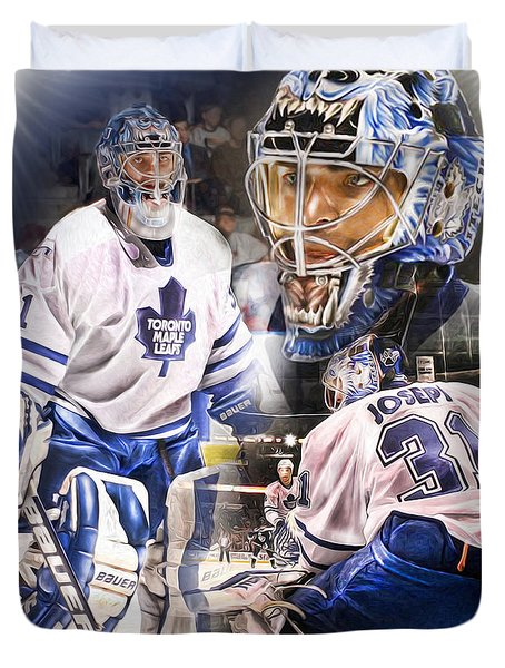 Duvet Cover featuring the painting Curtis Joseph Collage by Mike Oulton ca06907aa