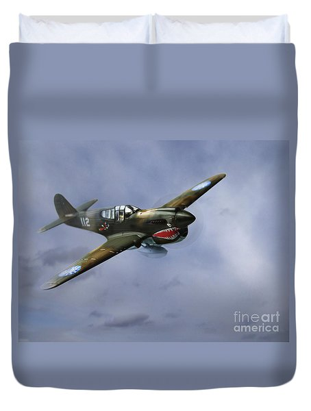 Curtiss P-40 Warhawk Duvet Cover by Diane Diederich