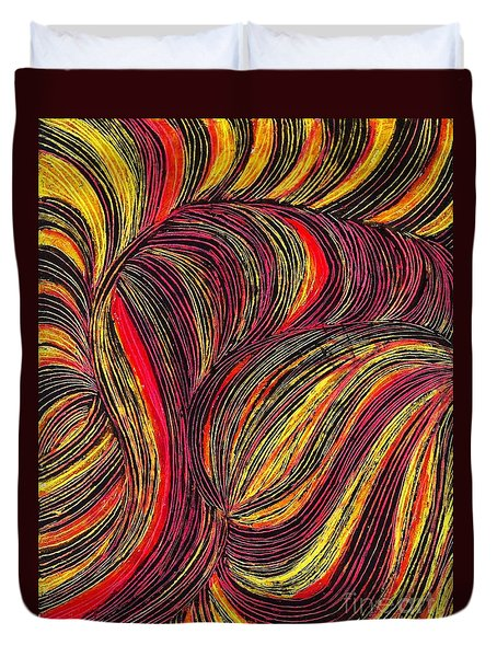 Curved Lines 3 Duvet Cover by Sarah Loft