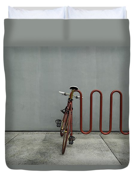 Curved Rack In Red - Urban Parking Stalls Duvet Cover