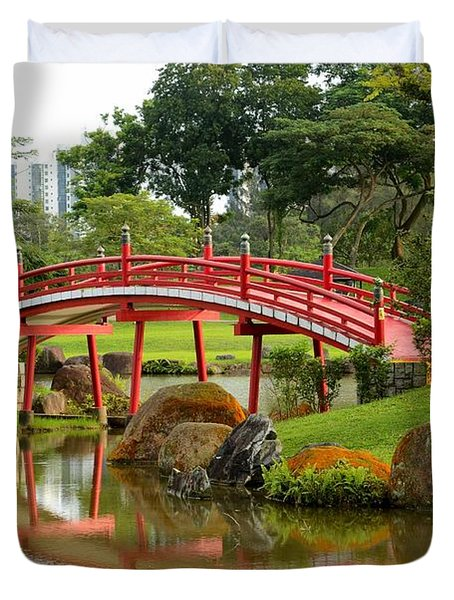Curved Red Japanese Bridge And Stream Chinese Gardens Singapore Duvet Cover