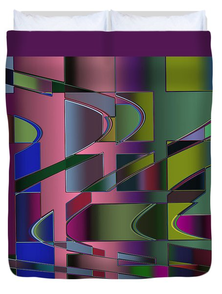 Curves And Trapezoids 3 Duvet Cover by Judi Suni Hall